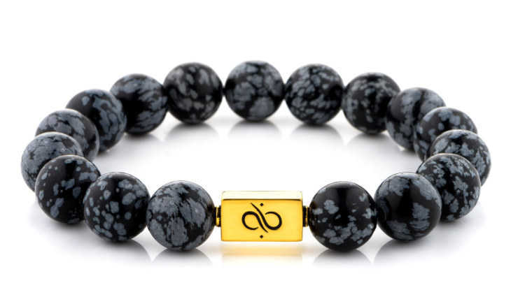 Classic Snowflake Obsidian (12mm) Gold