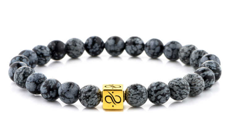 Classic Snowflake Obsidian (8mm) Gold