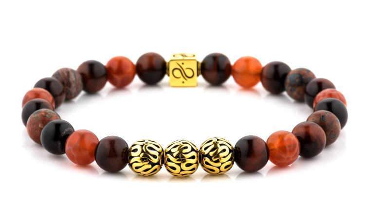 Premium Mixed Tres, 8mm, Gold bracelet