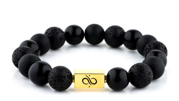 Classic Black Mixed, 12mm, Gold bracelet