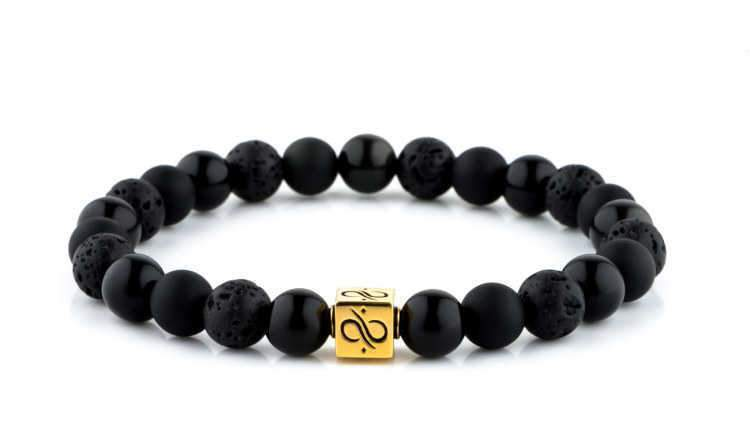 Classic Black Mixed, 8mm, Gold bracelet