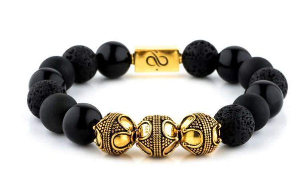 Premium Black Mixed, 12mm, Gold bracelet