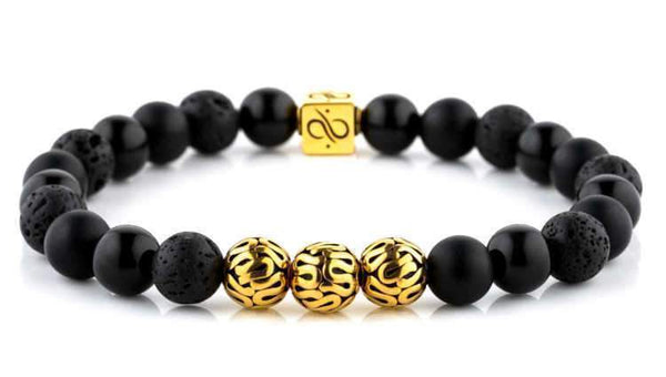 Premium Black Mixed, 8mm, Gold bracelet