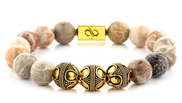 Mens Beaded Bracelet - Premium Gold Chrysanthemum - Aurum Brothers