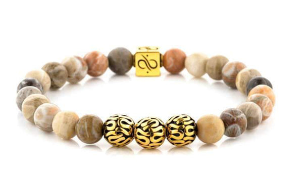 Mens Beaded Bracelet - Premium Minimal Gold Chrysanthemum - Aurum Brothers