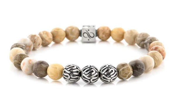 Mens Beaded Bracelet - Premium Minimal Silver Chrysanthemum - Aurum Brothers