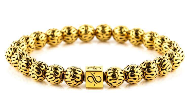 Mens Beaded Bracelet - Minimal Gold Gold - Aurum Brothers