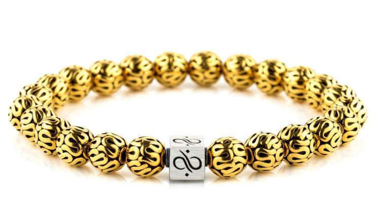 Mens Beaded Bracelet - Minimal Silver Gold - Aurum Brothers
