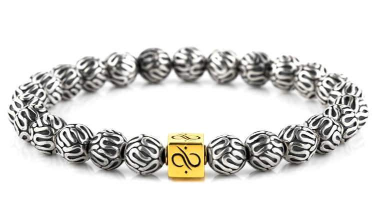 Mens Beaded Bracelet - Minimal Gold Silver - Aurum Brothers