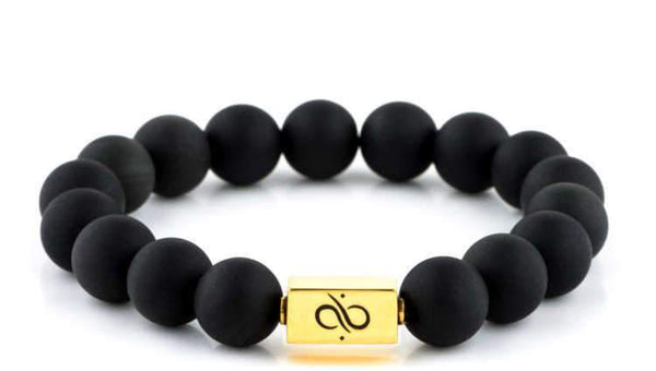 Mens Beaded Bracelet - Classic Gold Matte Obsidian - Aurum Brothers