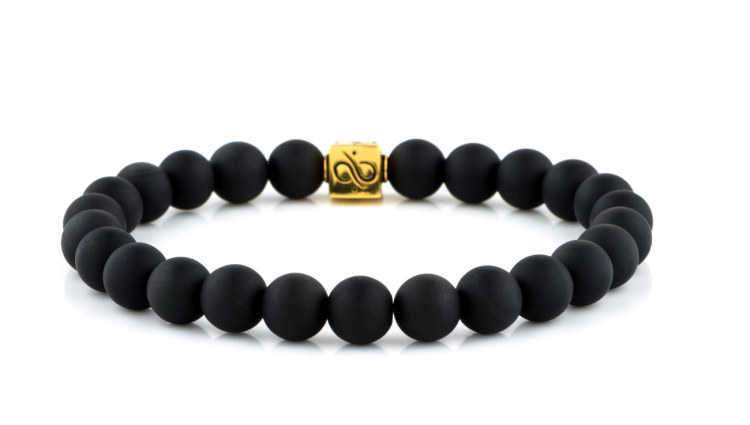 Mens Beaded Bracelet - Minimal Gold Matte Obsidian - Aurum Brothers