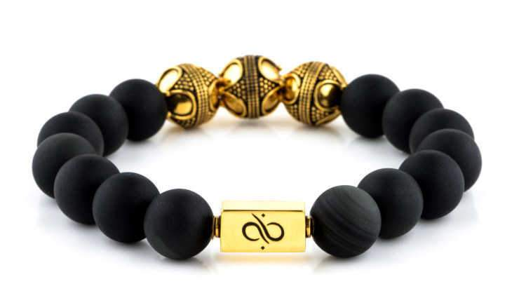 Mens Beaded Bracelet - Premium Gold Matte Obsidian - Aurum Brothers