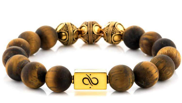 Premium Matte Tiger Eye (12mm) Gold