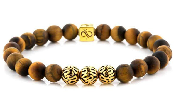 Premium Matte Tiger Eye (8mm) Gold