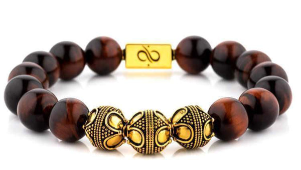 Premium Red Tiger Eye (12mm) Gold