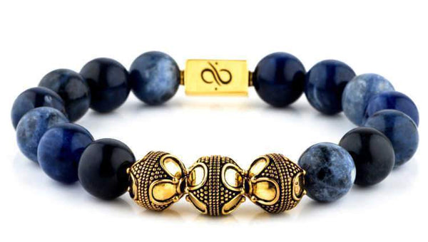 Premium Sodalite (12mm) Gold
