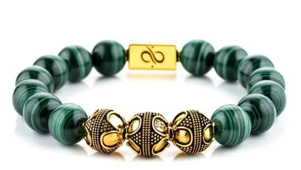Premium Malachite (12mm) Gold