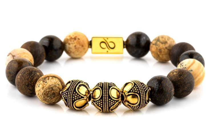Premium Mixed Duo, 12mm, Gold bracelet