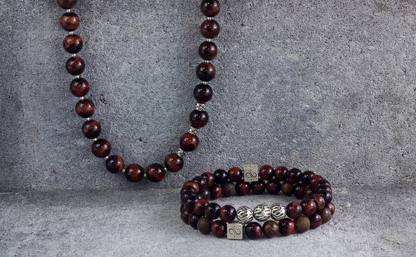 Necklace Red Tiger Eye, 10mm, Set