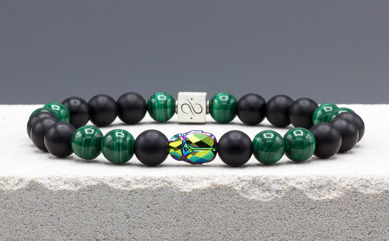 Scarab Malachite Mixed (8mm) Silver
