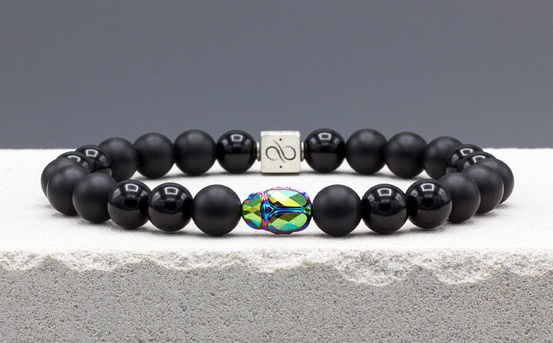 Scarab Matte Obsidian Mixed (8mm) Silver