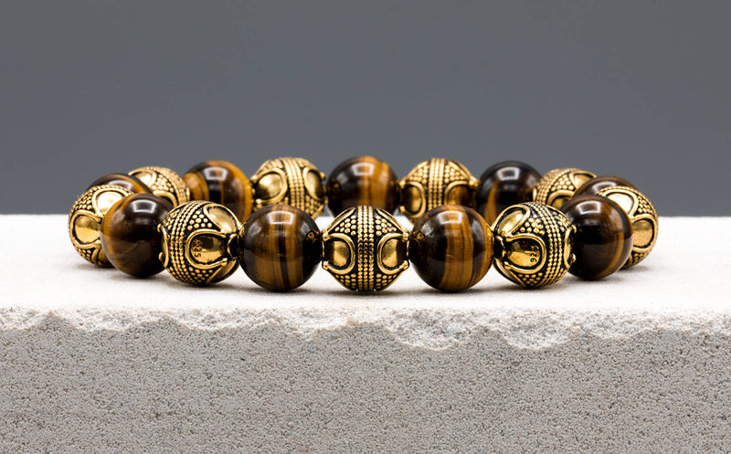 Special Tiger Eye, 12mm, Gold bracelet