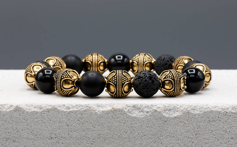 Special Black Mixed, 12mm, Gold bracelet