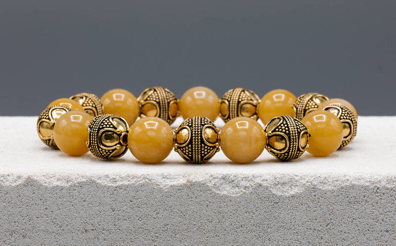 Special Yellow Jade, 12mm, Gold bracelet