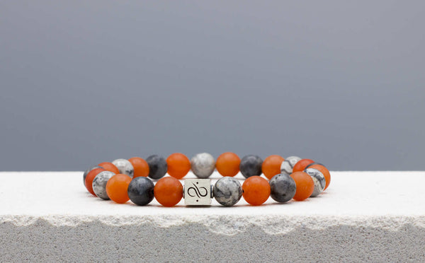 Classic Orange Aventurine Mixed, 8mm, Silver bracelet
