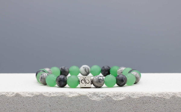 Classic Green Aventurine Mixed, 8mm, Silver bracelet