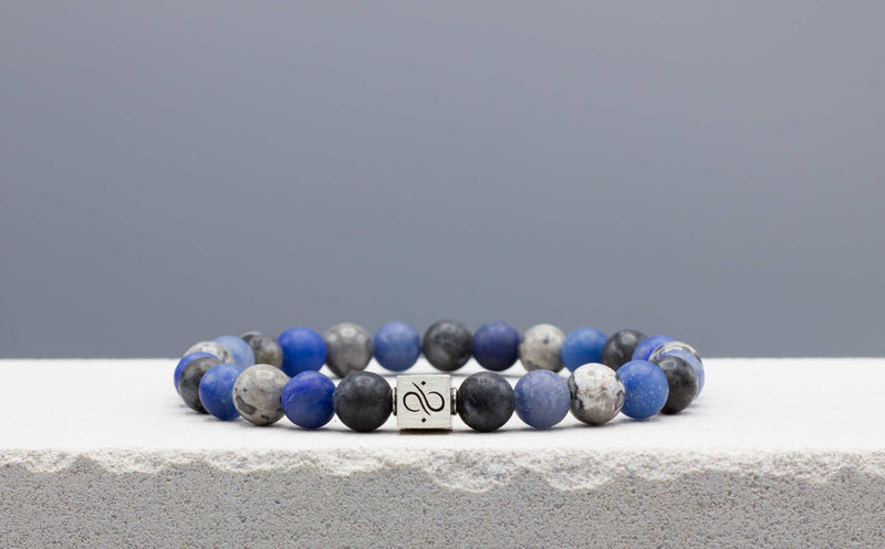 Classic Blue Aventurine Mixed, 8mm, Silver bracelet