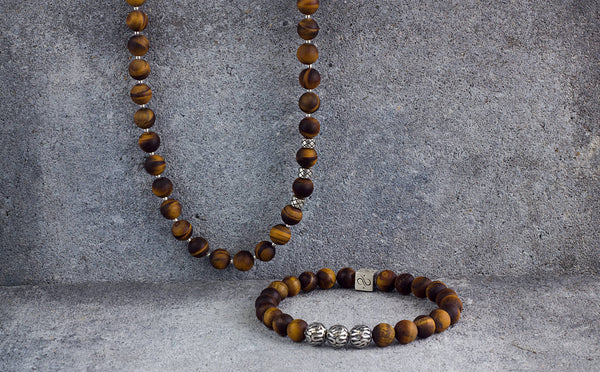 Necklace Matte Tiger Eye, 8mm, Set