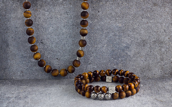 Necklace Matte Tiger Eye, 10mm, Set