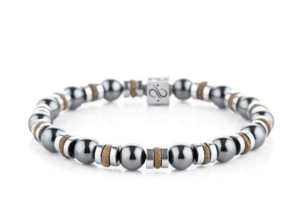 Wired Lizard Brown Ceramic - Hematite, 8mm, Silver bracelet