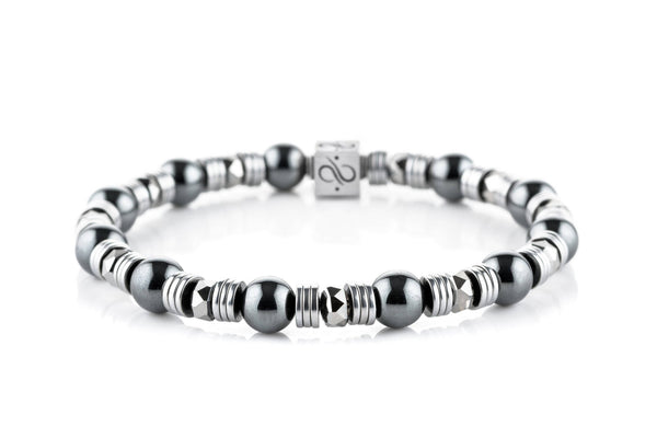 Wired Hematite, 8mm, Silver bracelet