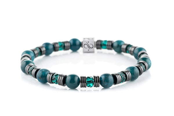 Wired Teal Apatite, 8mm, Silver bracelet