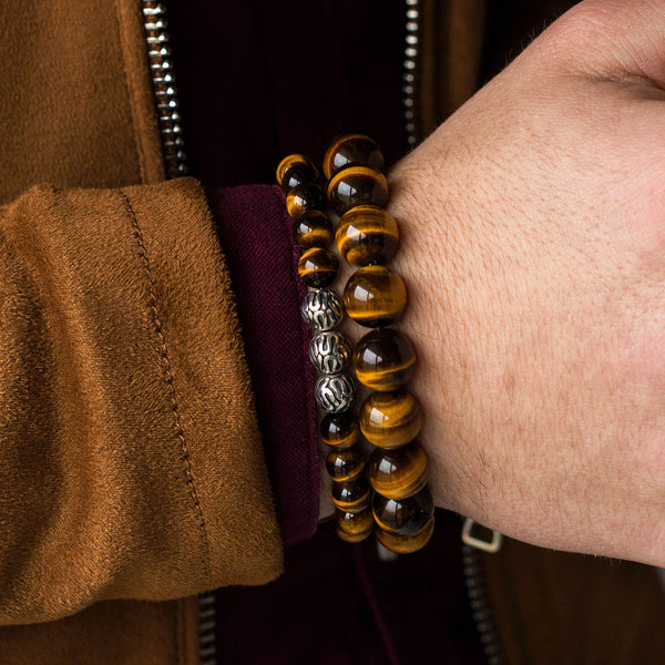 Premium Tiger Eye, 8mm, Silver bracelet