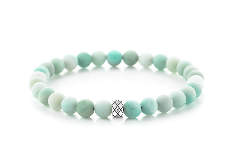 Abacus Matte Amazonite, 6mm, Silver bracelet