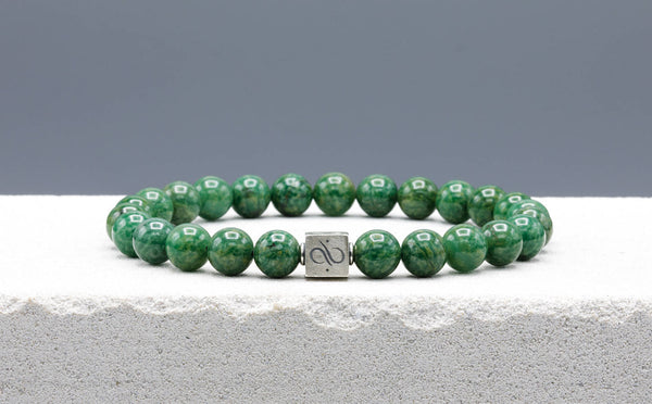 Classic African Jade, 8mm, Silver bracelet