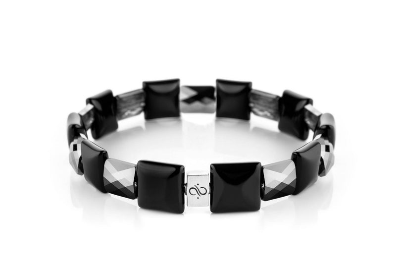 Ashlar Silver Grey - Black Agate, 12mm, Silver bracelet