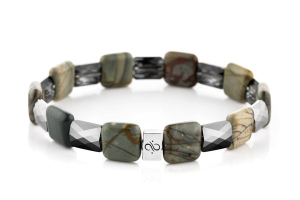 Ashlar Silver Grey - Multitoned Green Picasso, 12mm, Silver bracelet