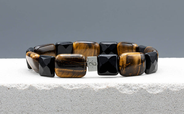 Ashlar Tiger Eye - Black Onyx, 18x13mm, Silver bracelet