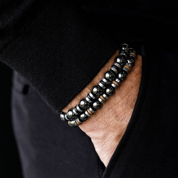 Wired Black Ceramic - Hematite, 8mm, Silver bracelet