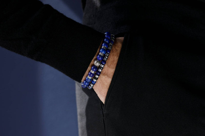 Abacus Wired Lapis Lazuli - Double Hematite, 6mm, Silver bracelet
