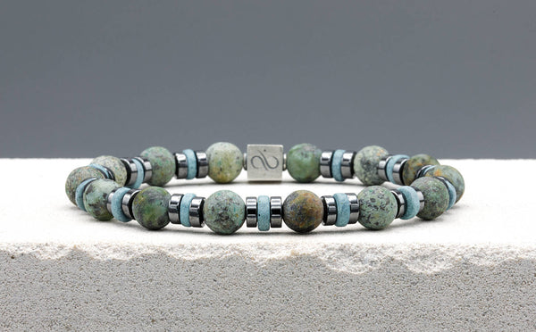 Wired Canton Blue Ceramic - Matte African Turquoise, 8mm, Silver bracelet