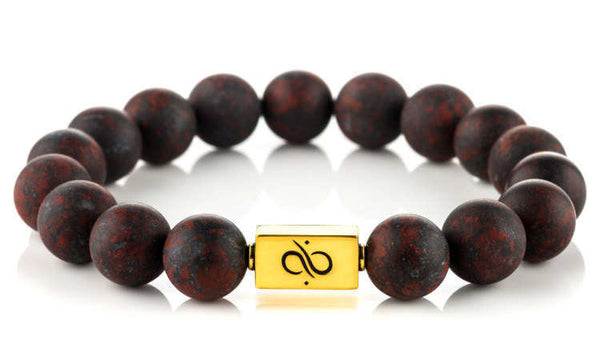 Classic Matte Brecciated Jasper (12mm) Gold
