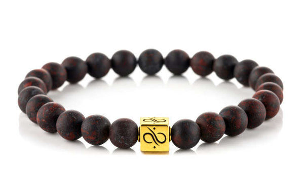 Classic Matte Brecciated Jasper (8mm) Gold