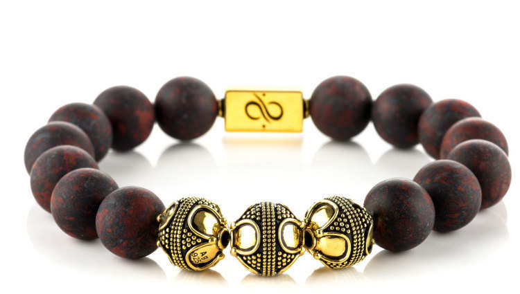 Premium Matte Brecciated Jasper (12mm) Gold