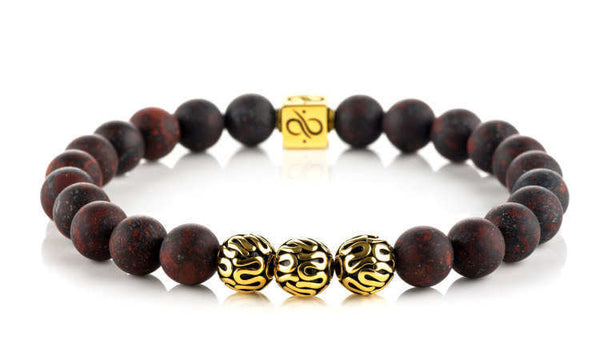 Premium Matte Brecciated Jasper (8mm) Gold