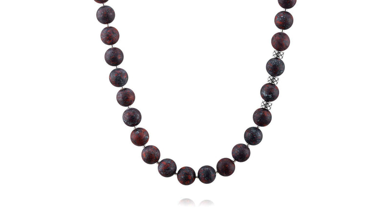 Prime Matte Brecciated Jasper and Silver, 10mm, Silver necklace